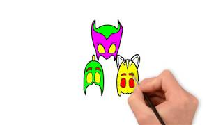 How To Draw PJ MASKS  Coloring Pages  YouTube Video For Kids