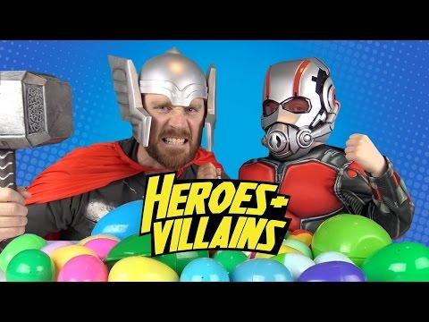 Heroes and Villains IRL Surprise Eggs Challenge #5 w/ Avengers Toys, Power Rangers & Batman Toys