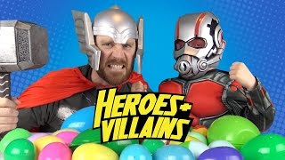 Heroes and Villains IRL Surprise Eggs Challenge #5 w/ Avengers Toys, Power Rangers & Batman Toys