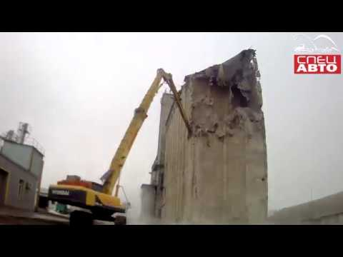 Снос элеватора в г Валуйки Белгородской области с помощью Экскаватора разрушителя Hyundai R520 с Dem