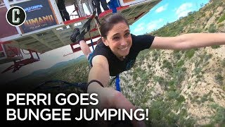 Perri Goes Bungee Jumping at Jumanji: The Next Level Junket