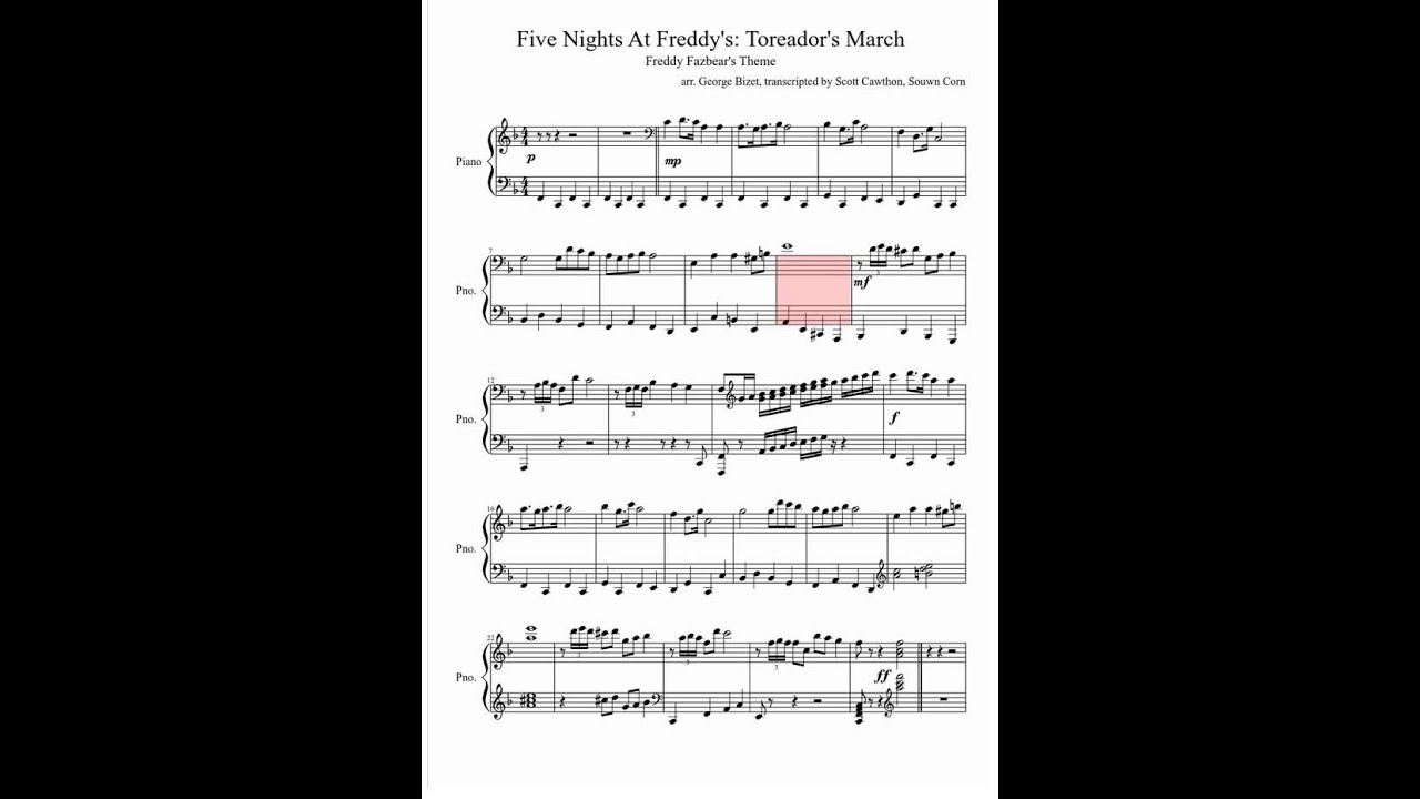 Song song sheet music : Five Nights At Freddy's [Sheet Music] - YouTube