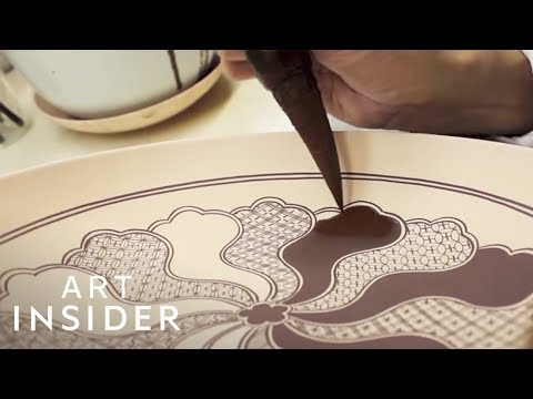 Watch Japanese Craftsman Hand-Paint On Porcelain