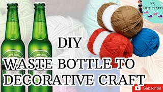 DIY decorative item out of waste bottle and wollen thread/beer bottle crafts/best out of waste