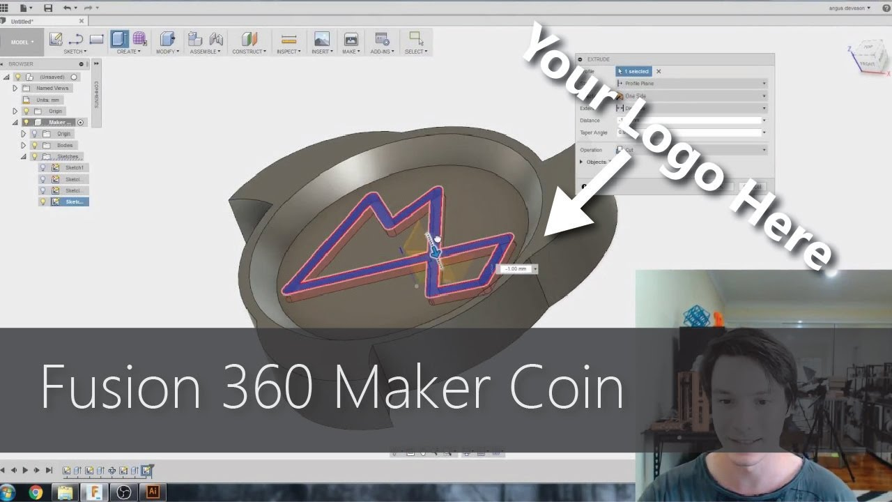 Fusion 360 for Beginners - Design and 3D Print a Maker Coin! CAD For ...