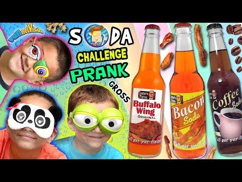 WEIRD SODA CHALLENGE Joke! Bacon, Buffalo Wing & Peanut Butter w  FUNnel Vision Parents