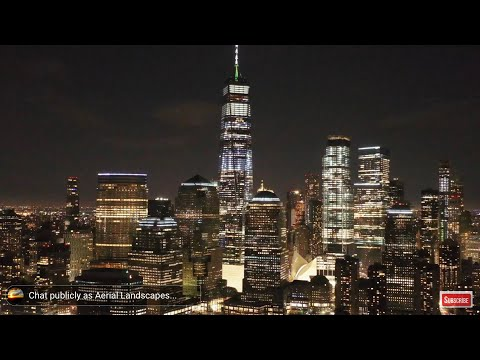New York City Skyline at Night Live Screensaver HD , Aerial Landscapes Wallpaper HD Live