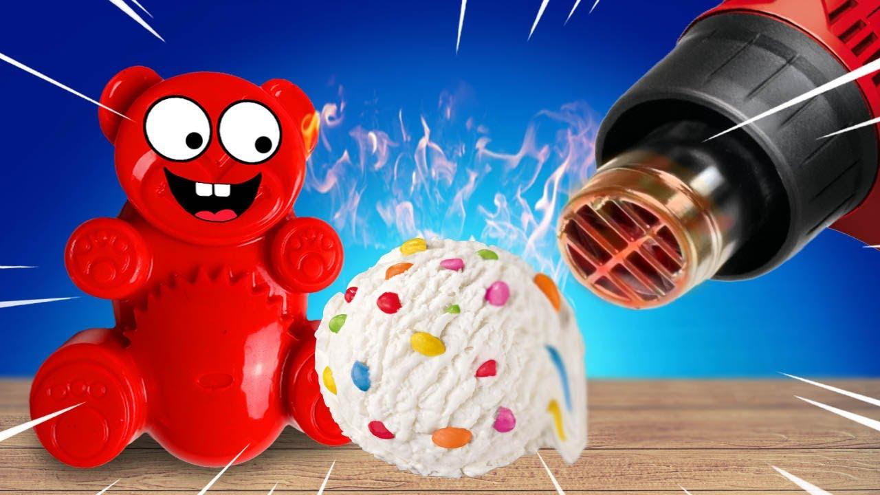 Smarties Eis VS Heißluftpistole und den dicken Lucky