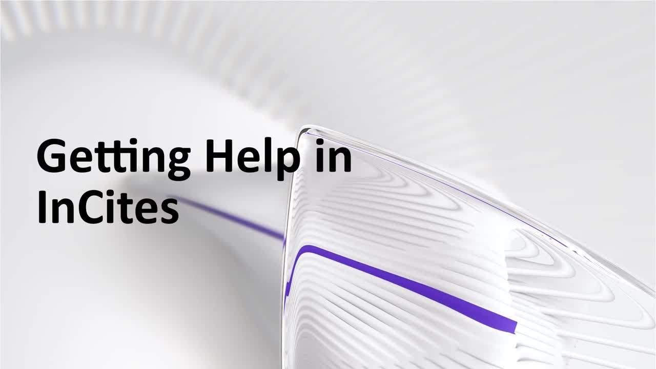 Download Getting Help in InCites