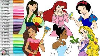 disney-princess-coloring-book-compilation-snow-white-mulan-elena-tiana-ariel-rapunzel