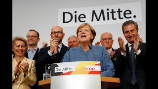 LATEST: Angela Merkel delivers a speech after exit poll results for the country's general election thumbnail