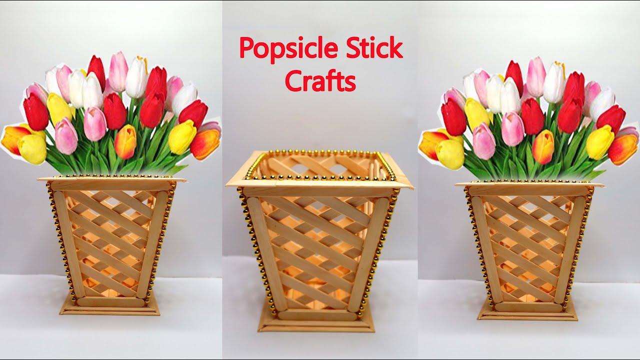 Ide Kreatif Vas Bunga Dari Stik Es Krim Popsicle Stick Crafts Flower Vase Youtube