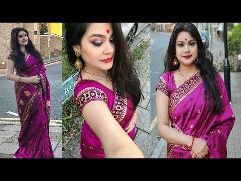 DURGA PUJA 2017 MAKEUP IN HINDI | TRADITIONAL BENGALI MAKEUP TUTORIAL | Indian Festive Makeup