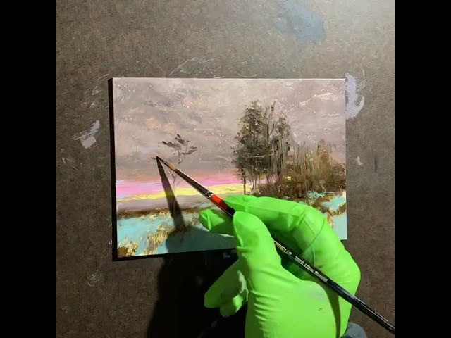 Time-lapse Landscape Painting    #paintingdemo #timelapsepainting #oilpaintingdemo #artlessons