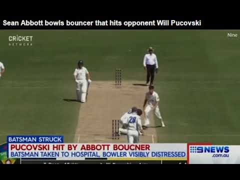 sean-abbott-bowls-bouncer-that-hits-opponent-will-pucovski-in-the-helmet-forcing-him-from-the-field