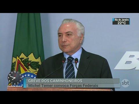 Temer autoriza o uso das forças federais para desbloquear estradas | SBT Brasil (25/05/18)