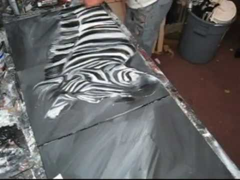 Speed painting a Zebra with Actylic painting techniques