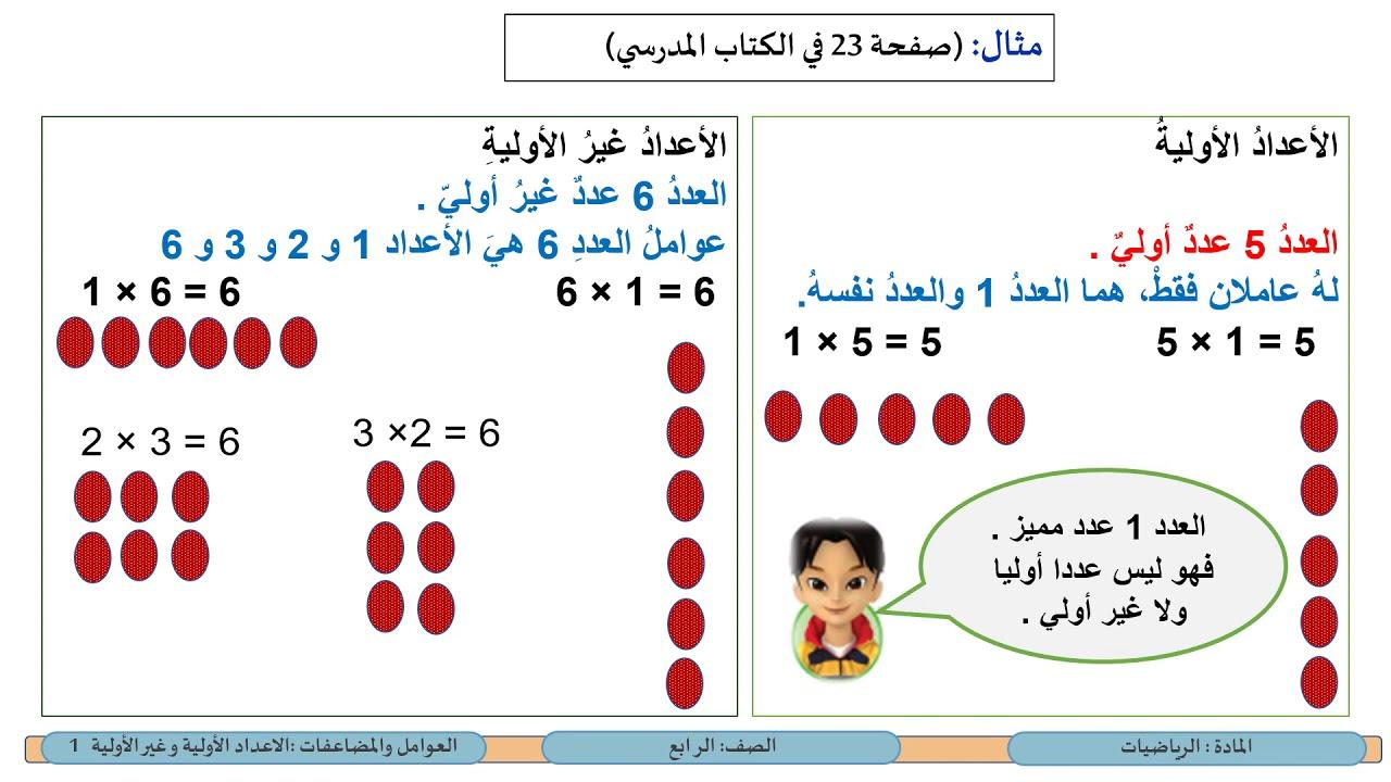 الصف الرابع الرياضيات الأعداد الأولية وغير الأولية 1 Youtube