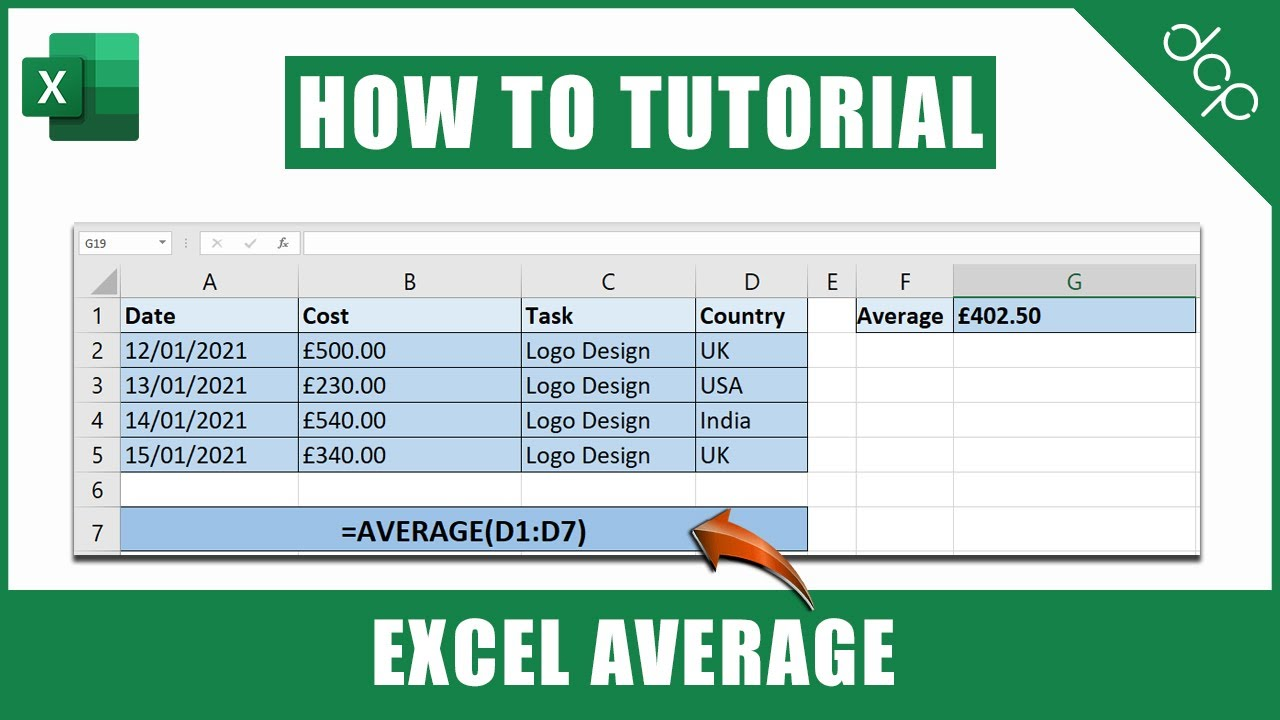 Excel Spreadsheet Calculate Average | Excel 2021 Tutorial