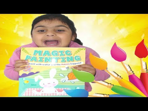 Magic painting book with Zainab I colour book using paint brush and water
