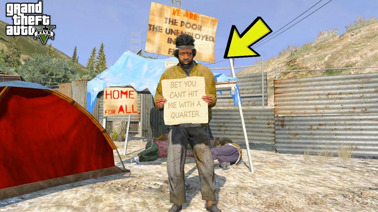 GTA 5 REAL LIFE HOMELESS MOD #1 - YouTube