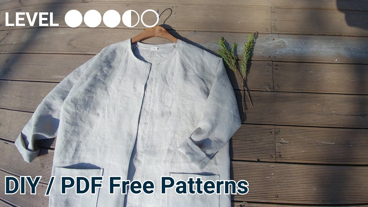 2a7cad4cd4f 미돌남-(무료패턴 Free Patterns)린넨 무카라 자켓 옷만들기 / Making clothes Linen jacket for  womans / 服作り 手作教學