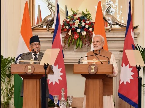 PM Modi & PM of Nepal Mr. Pushpa Kamal Dahal at at Exchange of MoUs and Press Statements