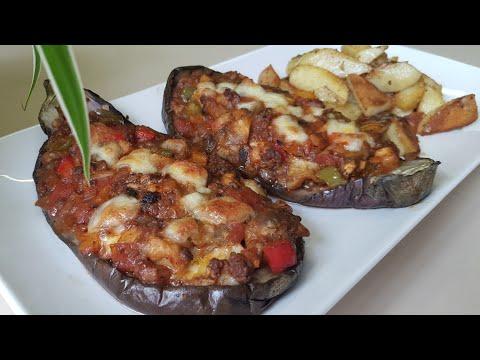 aubergine-farcie-à-la-viande-hachée-et-pomme-de-terre-grillées-au-four-بدنجان-معمر-مع-بطاطس-في-الفرن