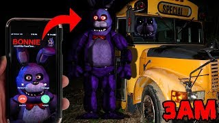 (GONE WRONG) CALLING BONNIE ON FACETIME AT 3AM AT FNAF SCHOOL BUS | BONNIE CATCHES ME IN REAL LIFE