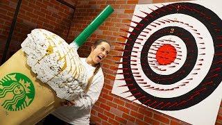 Worlds Biggest Starbucks Drink?! | Deadly Dart Board Challenge!