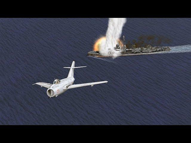 Cận cảnh chiếc Mig-17 ném bom thia lia tấn công tàu Mỹ.