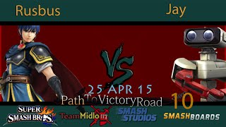 PTVR10 Rusbus Marth Vs Jay Rob SSB4 Tournament Smash