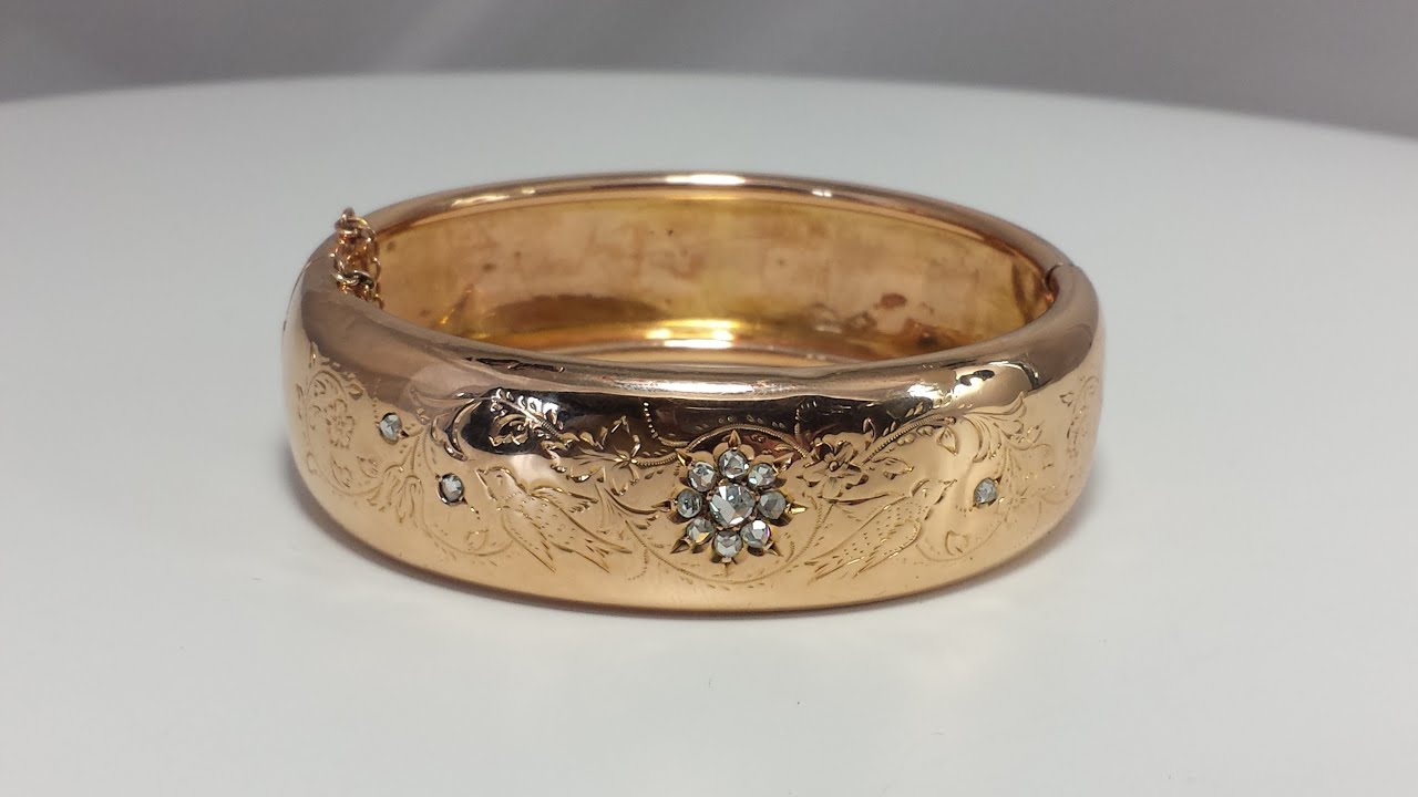 gold bangles bracelet cut mine w victorian rose grams diamonds bangle watch