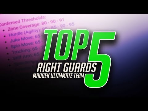 TOP FIVE RIGHT GUARDS IN MUT 18! THE TRUE TOP FIVE BEST!  MADDEN 18 ULTIMATE TEAM