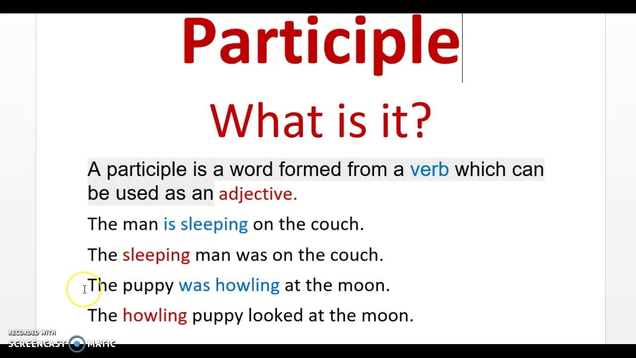 what is a participle Answers to your questions this question: participle clauses.