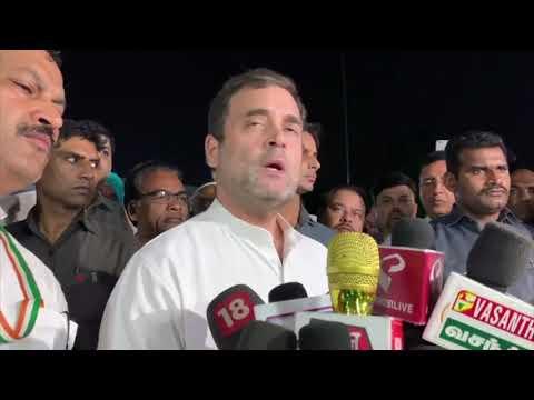 श्री राहुल गांधी अखिल भारतीय कांग्रेस कमेटी मुख्यालय में कश्मीर में संकट पर मीडिया को संबोधित करते