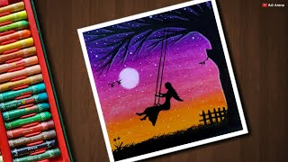 Girl on Swing drawing for beginners with Oil Pastels - step by step