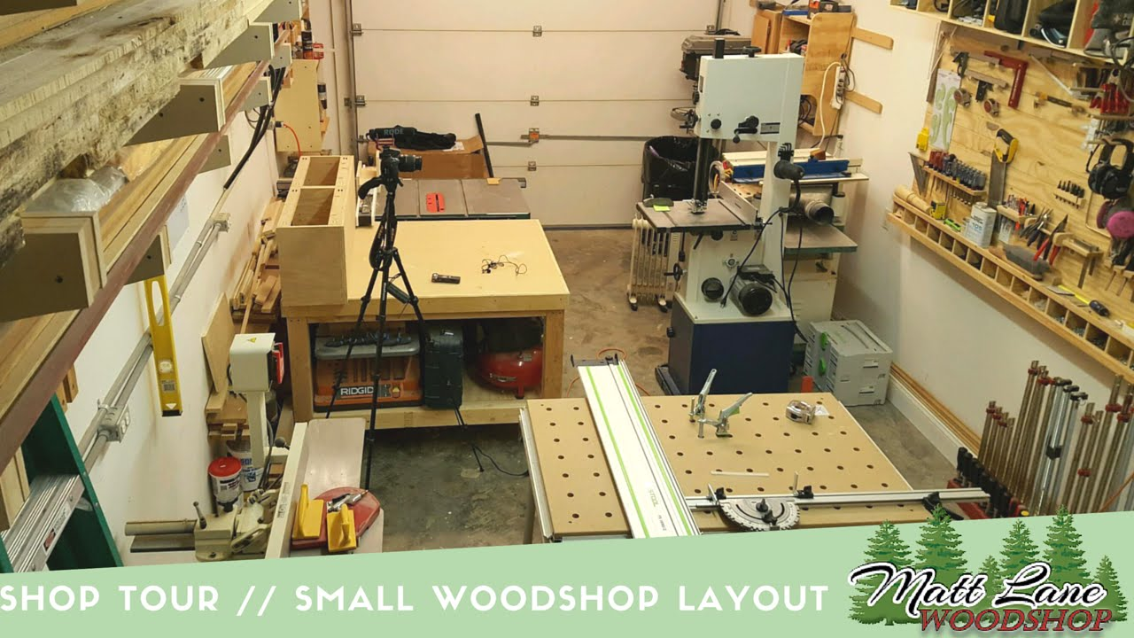 shop tour small woodshop layout youtube