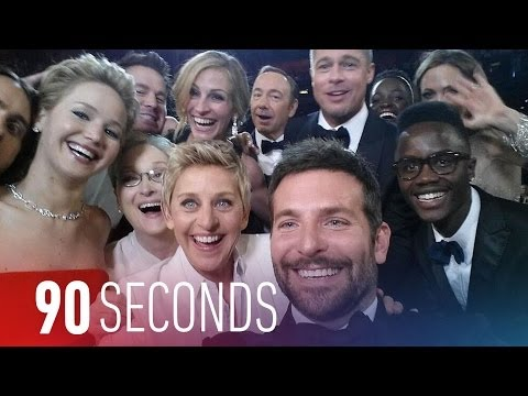 Ellen's Oscars 2014 selfie sets Twitter records: 90 Seconds on The Verge