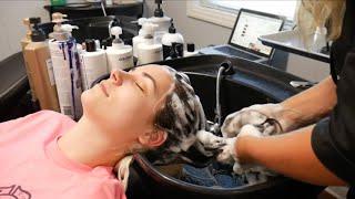 ASMR Hairwashing/Shampooing, Haircutting, Combing, & Blowdrying!