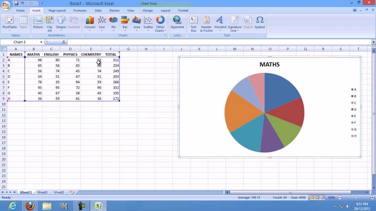 Create A Chart In Ms Excel 2007
