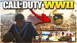 Call Of Duty WW2 HIDDEN GRIDIRON BALL LOCATIONS! Headquarters Challenges (COD WWII HQ Easter Egg)