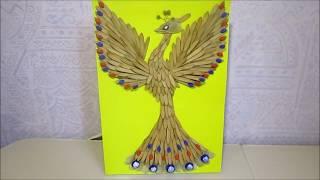 DIY. Осенняя поделка из природного материала в детский сад или школу. Жар - птица.