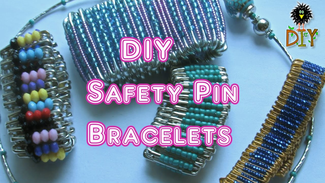 DIY Safety Pin Bracelets - How To Make Safety Pin Bracelet Tutorial ...