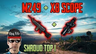 AMAZING M249 + x8 SCOPE - Shroud win solo game FPP [NA] - PUBG HIGHLIGHTS TOP 1