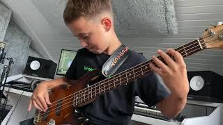 (9yrs) AronTheBassist - Dua Lipa LEVITATING (bass cover)