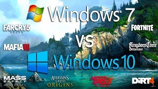 Windows 7 vs Windows 10 Test in 8 New Games