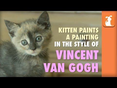 Kitten Paints A Van Gogh Painting - Kitten Love
