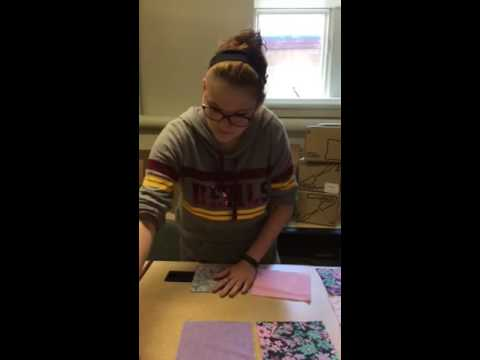 Cutting our quilting fabric