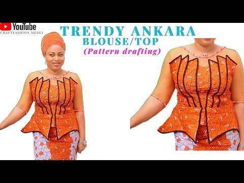 latest/trendy Ankara blouse with unique design#ankaratop  #africanprint #ankarastyles #blousecutting